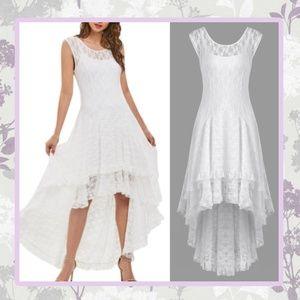 🌸 WHITE LACE DRESS HI LOW RUFFLE WEDDING BRIDE